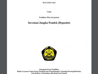 Pengumuman Pemilihan Mitra Kerjasama Investasi Jangka Pendek (Deposito)